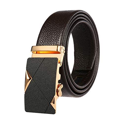 GUOCU Cinturón Cuero Hombre Cinturones Piel Con Hebilla Automática Conveniente Para Los Pantalones Vaqueros Del Traje Para Hombres Sencillo Y Clásico Perfecto Regalo