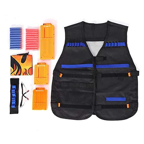 Zyyini Tactic Vest Kits voor spel, 1 Pack N-Strike Elite Tactic Vest Jacket met 1 Polsbanden, 3 Quick Reload Clips, 1 Beschermende Bril 20 Kogels 1 Gezichtsmasker voor Kinderen Plezier
