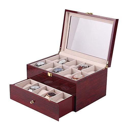 FIONAT Caja para Relojes Cajas para Joyas Hombre Mujer Regalo Viajevino Tinto 2 Capas De Pintura De Madera 20 Caja De Presentación De Almacenamiento