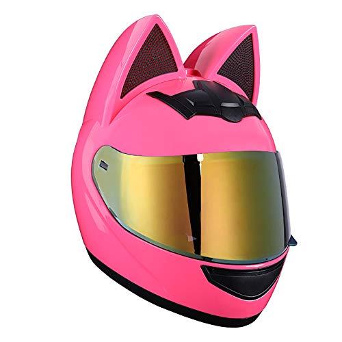 FANGJIA-Helmet Around Motocross Helm, Katze Ohren Helm, Motorradhelm Mit Katzenohren, Unisex Persönlichkeit Vollvisierhelm, Genehmigt DOT