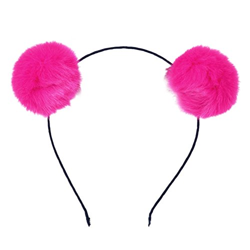 BUYITNOW Fluffy Rabbit Fur Ball Hairband Cosplay Panda Ears Headband Hotpink