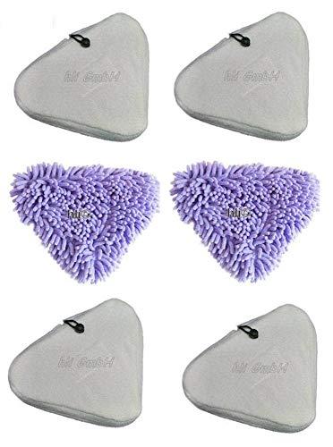Aqua Laser® Bezüge für Dampfbesen, 6 Stück - Premium Ersatztücher Bodentücher aus Mikrofaser
