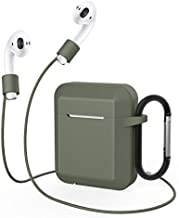 Airpods Case Shockproof and Drop Proof Protective Soft Skin for Apple Airpods Wireless Charging Case with Anti-Lost Ear Hook Grips Airpods Staps Clips Dirose (Army Green)
