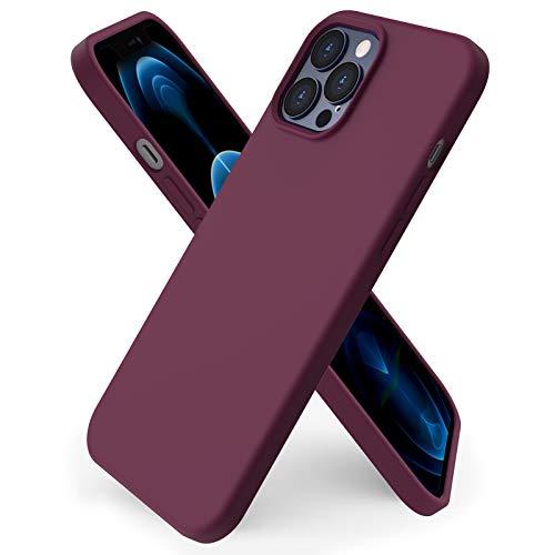 ORNARTO Funda Silicone Case Compatible con iPhone 12 Pro MAX, Protección de Cuerpo Completo,Carcasa de Silicona Líquida Suave Antichoque Case para iPhone 12 Pro MAX (2020) 6,7 Pulgadas Vino Rojo