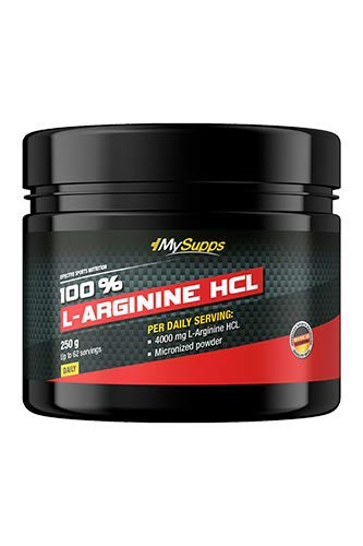 My Supps 100{f5362a5092083e7667d3650d7ad67ffcc85933d2436198d5143a647ef8d3569e} L-Arginine-Hydrochlorid - hochdosiert - 4000mg pflanzliches pures L-Arginine HCL aus Fermentation je Tagesdosis , vegan & optimale Löslichkeit, Made in Germany (250g)