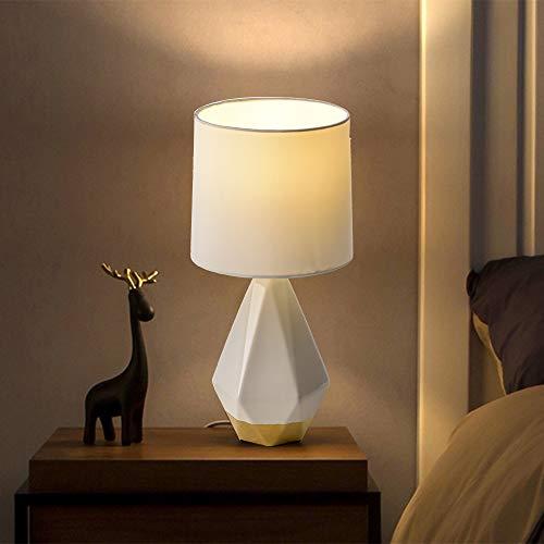 SEVETILKA Nachttischlampe aus Keramik, unregelmäßig, geometrisch, für Wohnzimmer, Schlafzimmer, weißer Stoff-Lampenschirm, E27 Fassung