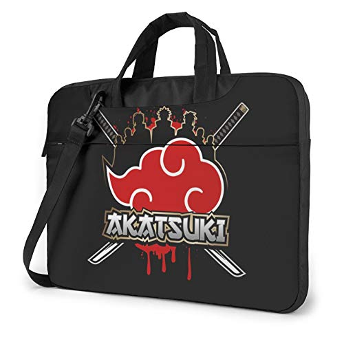Naruto Akatsuki Clan Logo Compatible with 14 Inch Convertible Shockproof Laptop Crossbody Messenger Bag Briefcase with Adjustable Strap,Computer Carrying Bag for MacBook Chromebook