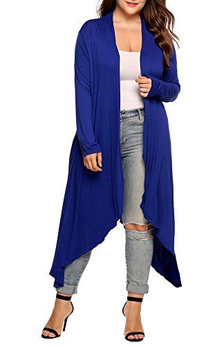 Women's Plus Size Long Sleeve Waterfall Asymmetric Drape Open Long Maxi Cardigan