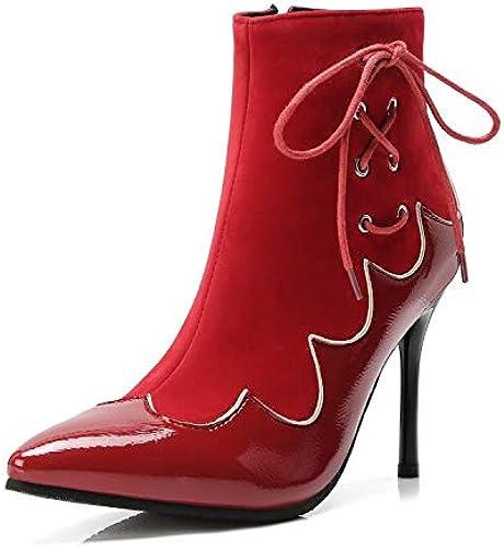 HRCxue schuhe de la Corte Stiefel Temperamento Puntiagudas Correas Cruzadas Estilete Stiefel Cortas, Terciopelo rot, 34