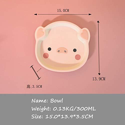 Xu Yuan Jia-Shop Platos Llanos Kids Bamboo Fibra Vajilla Cena de Niños Placa de Cerdo Forma Placa Bebé Alimentación Lindo Animal Anti-Fall Bowl Placa Platos de Comida (Color : Bowl)