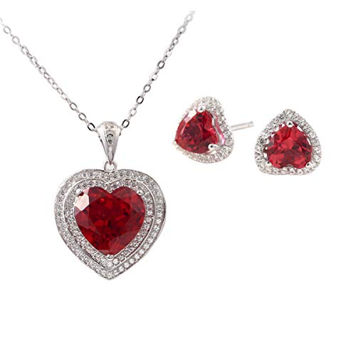Women's Elegant Created Ruby Necklace Sterling Silver Love Heart Pendant Necklaces and Gemstone Earring Studs Jewelry Sets for Brides Ladies