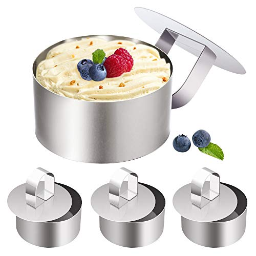 Stainless Steel Small Cake Rings, Mousse Cake Molds and Pastry Mini Baking Ring,Food Ring Mould Dessert Rings Set for Pastry Cake Baking-Set of 4 with 4 Pusher (Round)