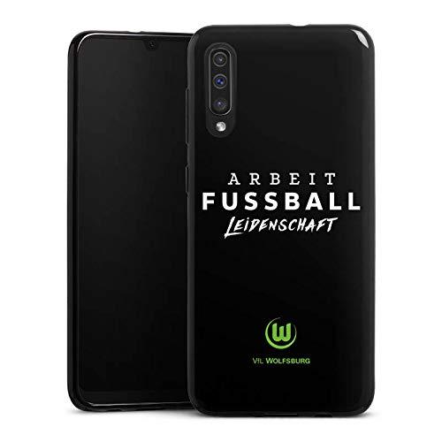 DeinDesign Silikon Hülle kompatibel mit Samsung Galaxy A50 Case schwarz Handyhülle VFL Wolfsburg Offizielles Lizenzprodukt Statement