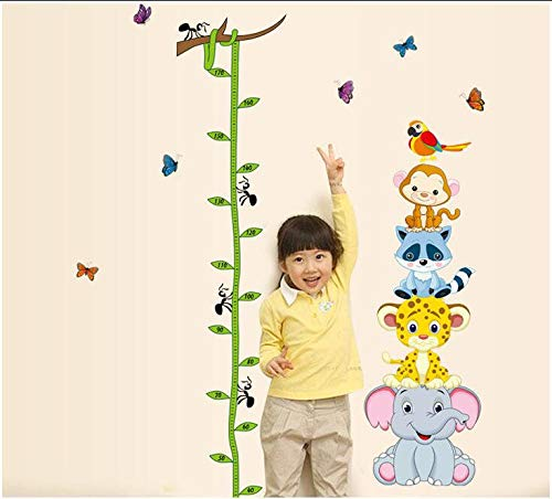 Sticker mural enfant mignon taille mesure pile animale éléphant tigre singe enfants chambre autocollants décoratifs Big 60X90