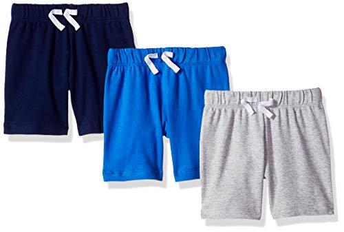 Amazon Essentials Baby-Shorts für Jungen, 3er-Pack, Mehrfarbig (Blue/Grey Solid), 85 cm ( US 24M )