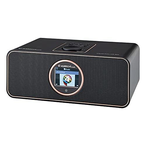 Albrecht DR 884 Kompaktanlage, 27884, Internetradio, Digitalradio, DAB+, UKW mit RDS, Bluetooth, USB, Farbdisplay, Musikstreaming via Smartphone-App möglich, 2 x 7 W, Farbe: schwarz