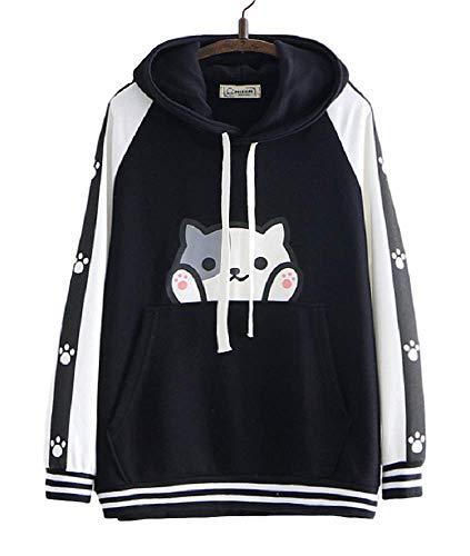 GK-O Cute Neko Atsume Cosplay Cat Paw Pullover Hoodie Kitty Sweatshirts (Black)