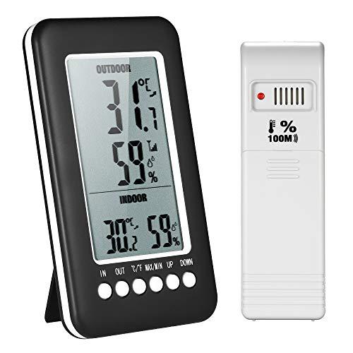 Zitainn Temperatur-Feuchtigkeitsmesser, LCD-Digital-Funk-Innen- / Außenthermometer Hygrometer ℃ / ℉ mit Max-Min-Anzeigesender