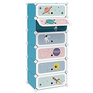 SONGMICS Estantería Modular Infantil de 6 Cubos, Zapatero para niños, Estantería plástico, Armario Modular con Puertas, para Ropa, Zapatos, Juguetes, 43 x 31 x 105 cm, Azul LPC904Q01