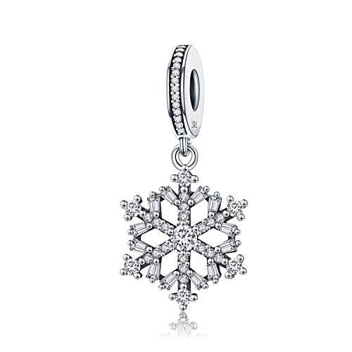 Lovena - Ciondolo in argento Sterling 925, a forma di fiocco di neve, compatibile con bracciali europei/Pandora