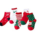 Christmas Socks Unisex Children Kid socks, Christmas Gift Cute Baby Socks Cotton Funny Socks for Baby,Kid,Boy and Girl 5 Pairs (M(4-6 years))