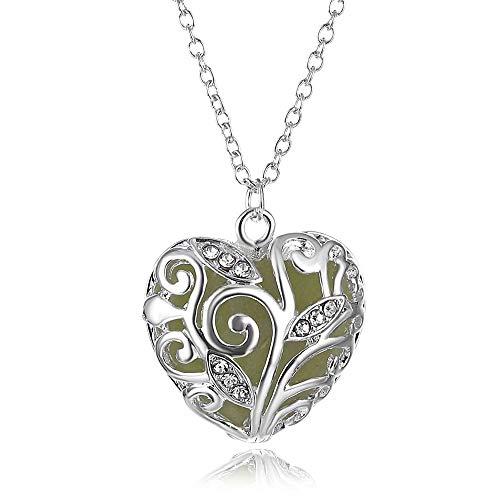 VAWAA En la Piedra Oscura Luminoso Colgante Cristal Hueco corazón Colgantes Collares para Mujeres Hombres joyería