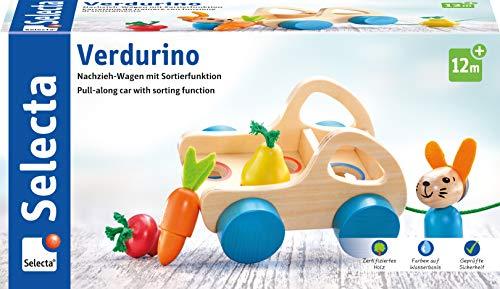 Selecta 62082 Verdurino, Obst und Gemüsewagen, Nachziehspielzeug und Sortierspielzeug aus Holz, 11 cm