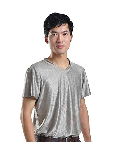 SHYZ EMF Anti-Radiation Protectio Radiation Shield Men T-Shirt V-Neck Silver