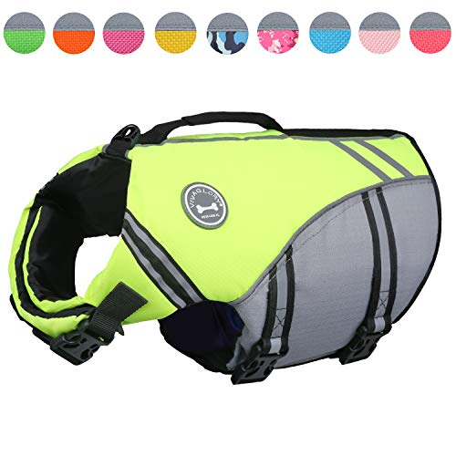 Vivaglory New Sports Style Ripstop Dog Life Jacket with Superior Buoyancy & Rescue Handle, Bright Yellow, S