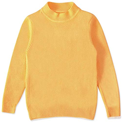 Baby Boys Girls Knit Sweater Toddler Kid Long Sleeve Crew Neck Basic Solid Fine Knit Tops,Yellow,Recommeded Age,6-7 Years