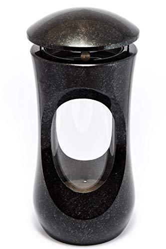 Afterglow Stilvolle Grablampe Classic aus echtem Granit Schwedisch Black Höhe 25 cm/Ø 12,5 cm cm Grableuchte Grablicht Grablampe Granitlampe Granitlaterne Bronze mit Sockel Grabschmuck