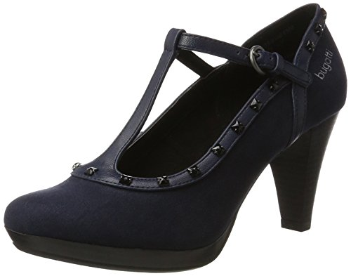 bugatti Damen 412281736400 T-Spangen Pumps, Blau (Dark Blue), 39 EU