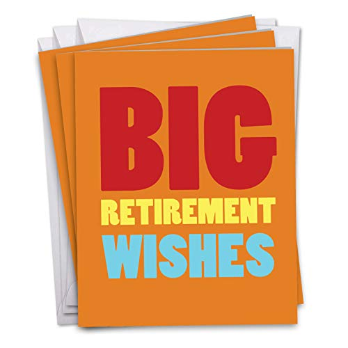 Big Retirement Wishes - 3 Pack of Retirement Cards with Envelopes (Big 8.5 x 11 Inch) - Big Text Appreciations, Farewell Cards for Bosses, Employee, Office Coworker - Congrats Stationery J2734RTG3