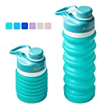 Collapsible Water Bottle Food-Grade Silicone Portable Leak Proof Travel Water Bottle, 18oz...