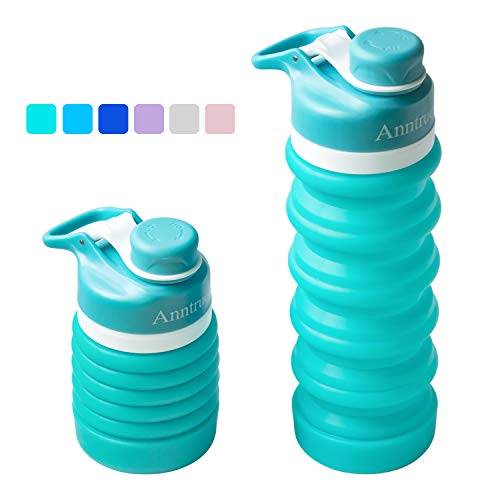 Anntrue Collapsible Water Bottle BPA Free, FDA Approved Food-Grade Silicone Portable Leak Proof Travel Water Bottle, 18oz (Aqua Blue)
