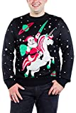 Tipsy Elves Ugly Christmas Sweater for Men from Featuring Santa Unicorn Size Large