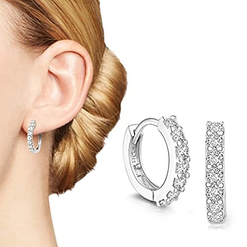 1 par de pendientes de plata para mujer, con decoración de diamantes, accesorios ligeros, ideales para decoración de oídos