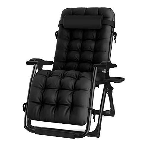 Sun Lounger Recliner Chair Relaxer mit Getränkehalter |Klappbare Gartenstühle mit gepolstertem Kissen und FußstützeSessel für Wohnzimmer Lazy Boy, Schwarz, Sonnenliege