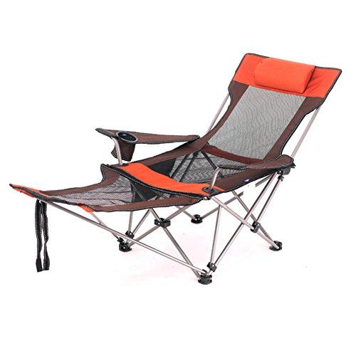 HM&DX Chaises Pliantes exterieures Portable Compact Chaise Longue Pliante inclinables Chaise de Plage Pliante Dossier réglable Inclinable pour la randonnée Jardin Plage-Orange