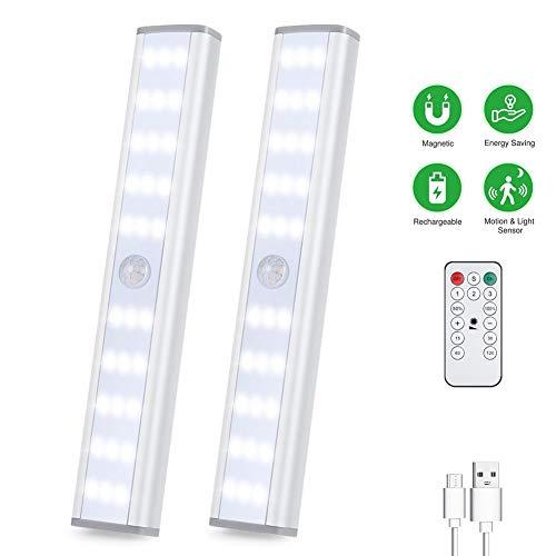 LED Schrankbeleuchtung Schranklicht Sensor Licht Unterbauleuchte Küchenlampen Kabinett Nachtlicht mit Bewegungsmelder Fernbedienung für Innen außen Flur Treppenhaus Kleiderschrank Dimmbar USB 2er Set