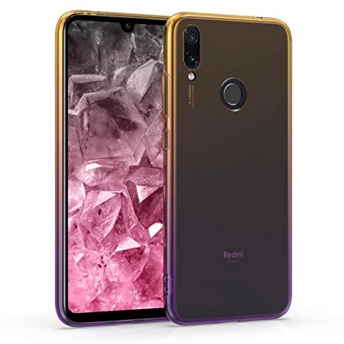 kwmobile Funda Compatible con Xiaomi Redmi Note 7 / Note 7 Pro - Carcasa de TPU Bicolor - Amarillo/Violeta/Transparente
