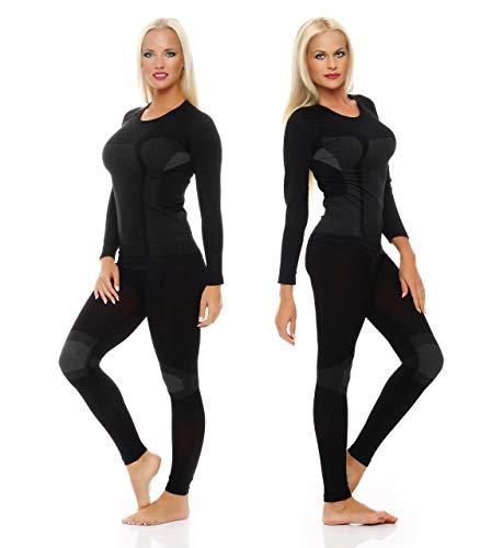 Ski-ondergoed voor dames 1 set lange mouwen, functionele thermische kleding zonder vervelende naden zwart grijs maat S / M