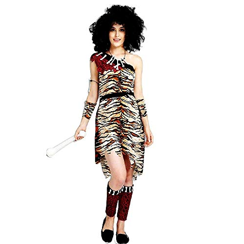 Pri06 - traje primitivo de mujer de las cavernas - primates - habitantes de las cavernas - picapiedra - disfraces de mujer - halloween - carnaval - talla única - adultos - idea de regalo cosplay