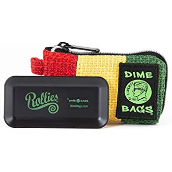 Stash Case Dime Bags All-in-One Padded Pouch with Accessory Tray and Secret Smell Proof Pocket (Rasta, 5in)