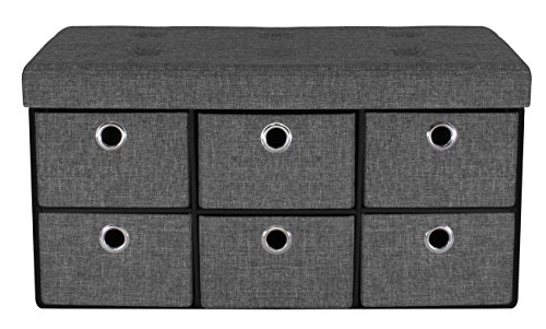 Sorbus Storage Bench Chest with Drawers – Collapsible Folding Bench Ottoman Includes Cover – Perfect for Entryway, Bedroom Bench, Cubby Drawer Footstool, Hope Chest, Faux Linen (Gray)