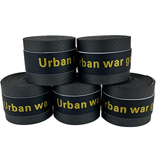 グリップテープ 5個セット (5色セット・黒・赤・青・紫・黄・など各色セットあり) ドライ多孔 オーバーグリップ テニス バドミントン 他 (ブラック)