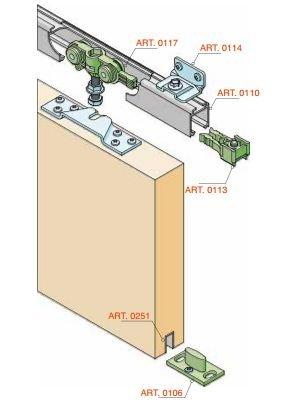 Para puerta corredera de herrajes kit + carril de 160 cm elox. Con 4 ángulo de