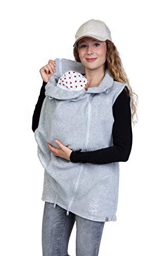 Viva la Mama - zusätzliche Weste für das Babytragen im Winter Trageweste Fleece Umstandsweste RERIK hellgrau - L