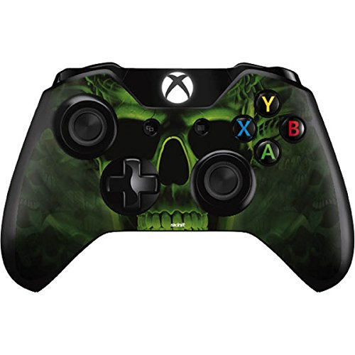 Skinit Decal Gaming Skin Compatible with Xbox One Controller - Officially Licensed Liquid Blue Green Skulls Design