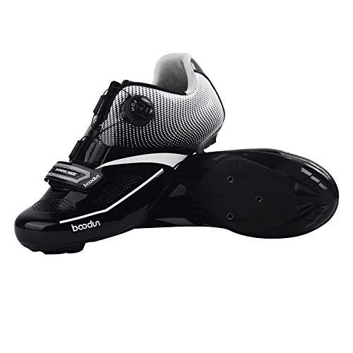 FYRS Zapatos de Ciclismo de Ciclismo, 3D Tridimensional, Equipo de Equitación para Hombre, Zapatos Profesionales de Ciclismo, Deportes al Aire Libre, etc, Negro, 43